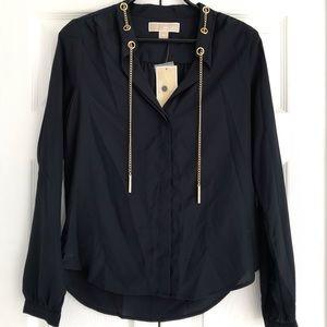 Michael Kors Navy Blue Blouse W/ Gold Chain Sz XS